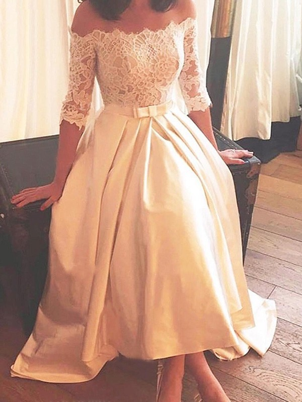 Charming A-Line Off-the-Shoulder Cut Satin High Low Wedding Dresses With Lace