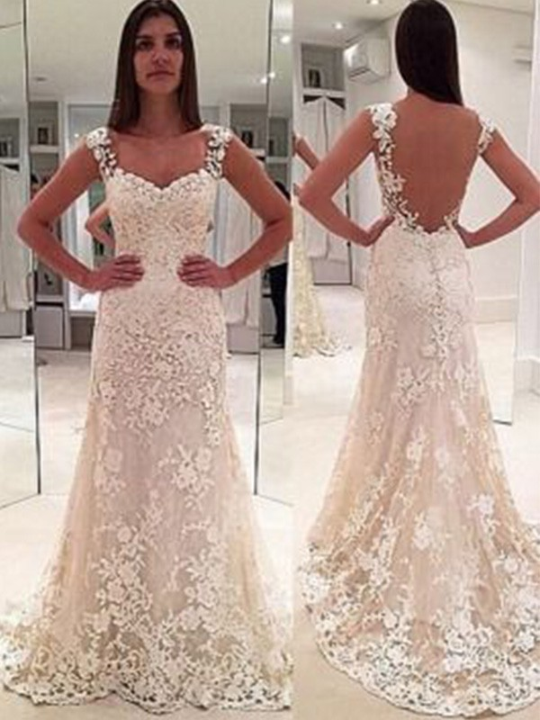 153440b0 Special Sheath Sweetheart Cut Lace Long Wedding Dresses With Applique