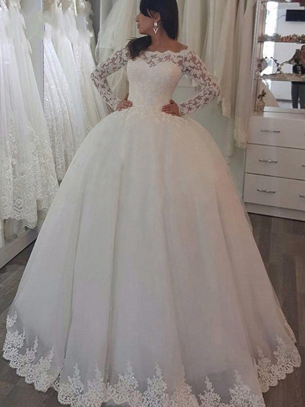Modern Ball Gown Off-the-Shoulder Cut Lace Long Wedding Dresses With Applique