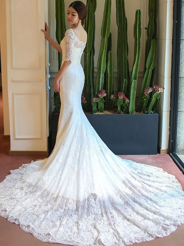 Soft Mermaid Square Cut Lace Long Wedding Dresses With Applique