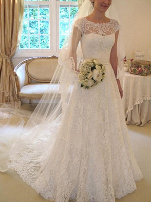 Radiant A-Line Square Cut Lace Long Wedding Dresses With Applique