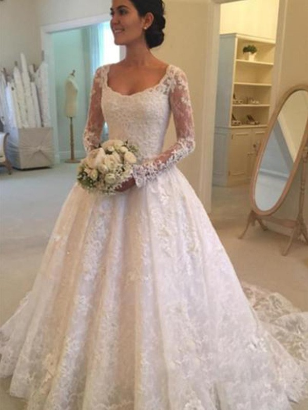 Smart Ball Gown Scoop Cut Lace Long Wedding Dresses With Ruffles