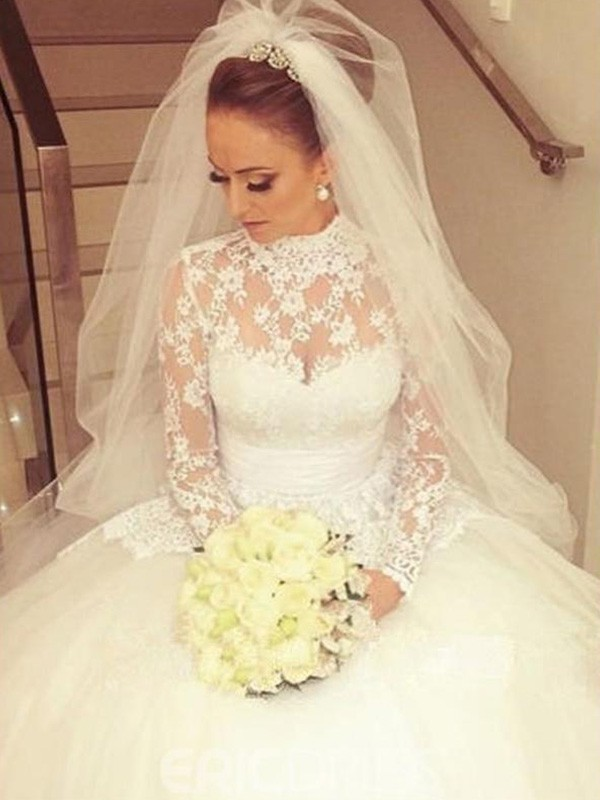 Chic Ball Gown High Neck Cut Lace Long Wedding Dresses With Ruffles