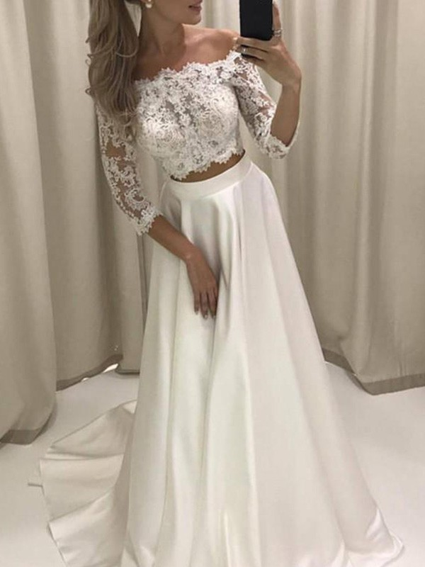 Sweet A-Line Off-the-Shoulder Cut Satin Long Wedding Dresses With Applique