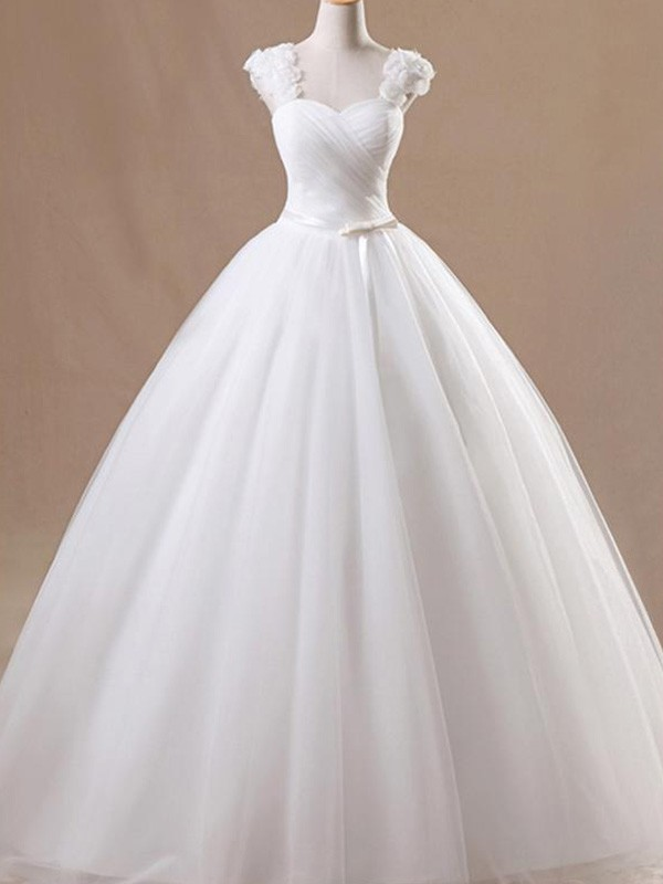 Awesome Ball Gown Square Cut Tulle Long Wedding Dresses With Ruffles