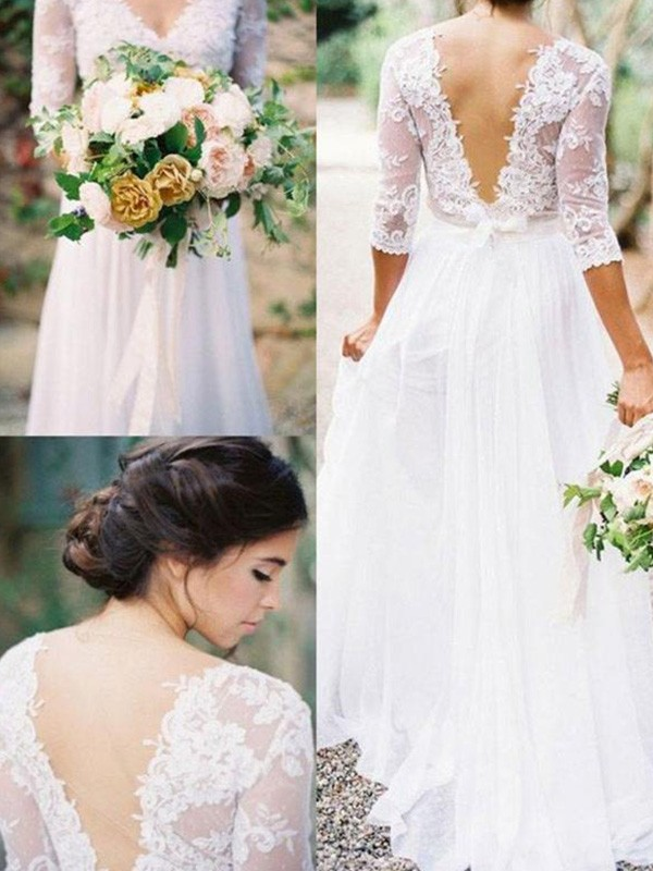 Attractive A-Line V-neck Cut Chiffon Long Wedding Dresses With Applique
