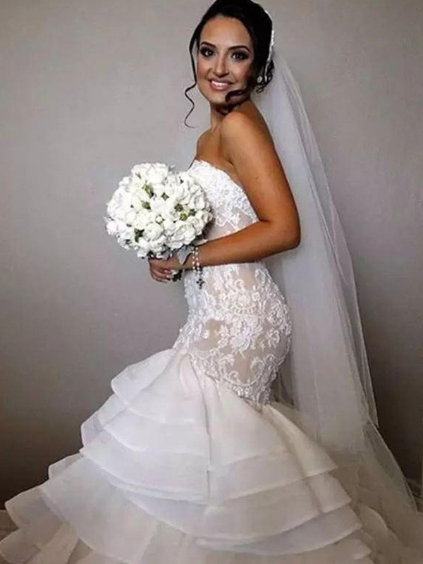 Delicate Mermaid Sweetheart Cut Organza Long Wedding Dresses With Ruffles