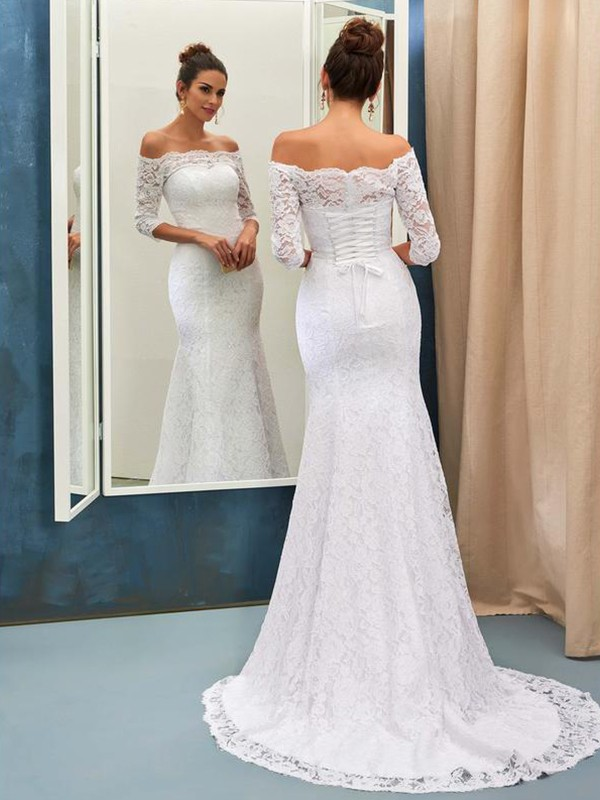 Pretty Mermaid Off-the-Shoulder Cut Lace Long Wedding Dresses With Lace