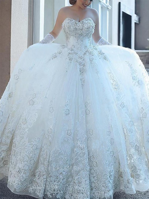 Gorgeous Ball Gown Sweetheart Cut Tulle Long Wedding Dresses With Applique