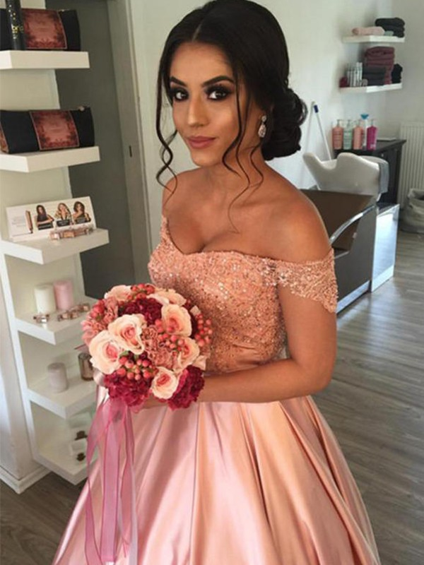 Nice Ball Gown Off-the-Shoulder Cut Satin Long Wedding Dresses With Ruffles