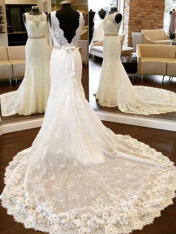 Elegant Sheath Scoop Cut Lace Long Wedding Dresses With Bowknot