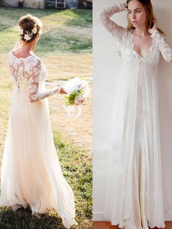 Unique Empire V-neck Cut Chiffon Long Wedding Dresses With Lace