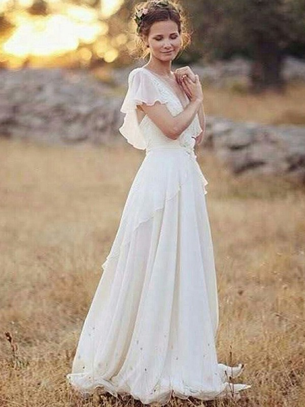 Amazing A-Line V-neck Cut Chiffon Long Wedding Dresses With Ruched
