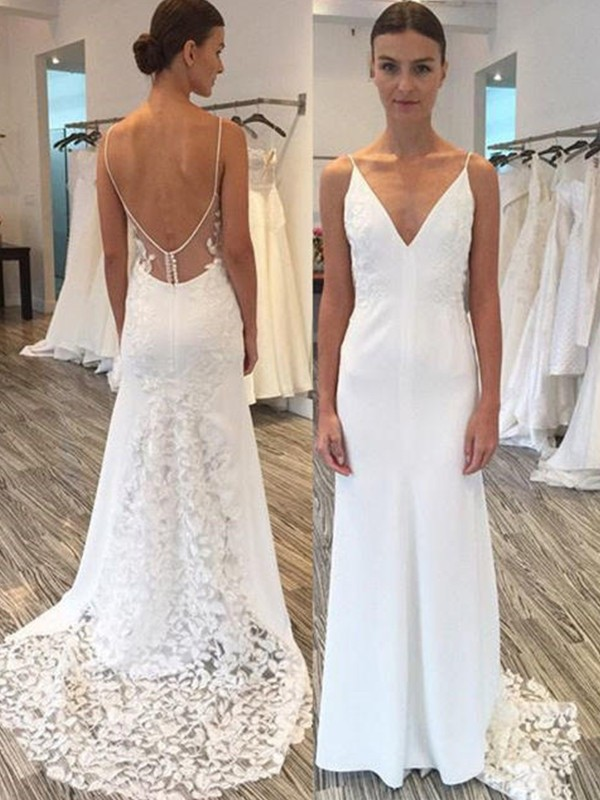 Stunning Sheath Spaghetti Straps Cut Satin Long Wedding Dresses With Lace