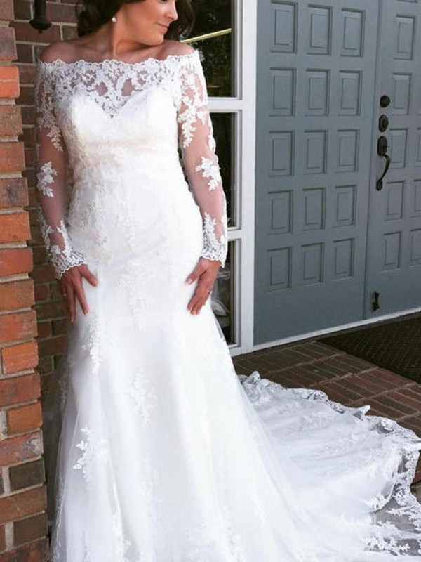 Fashional Mermaid Off-the-Shoulder Cut Tulle Long Wedding Dresses With Applique