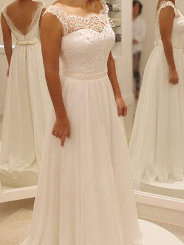 Attractive A-Line Scoop Cut Chiffon Long Wedding Dresses With Lace