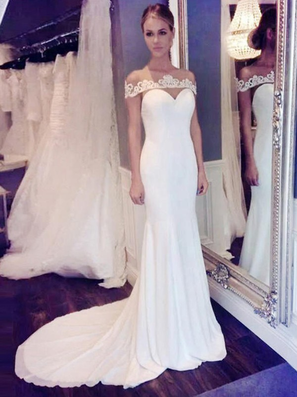 Special Mermaid Scoop Cut Chiffon Long Wedding Dresses With Lace