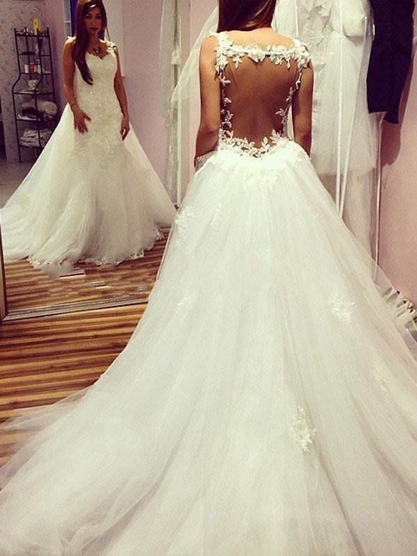 Smart Ball Gown Sweetheart Cut Tulle Long Wedding Dresses With Applique