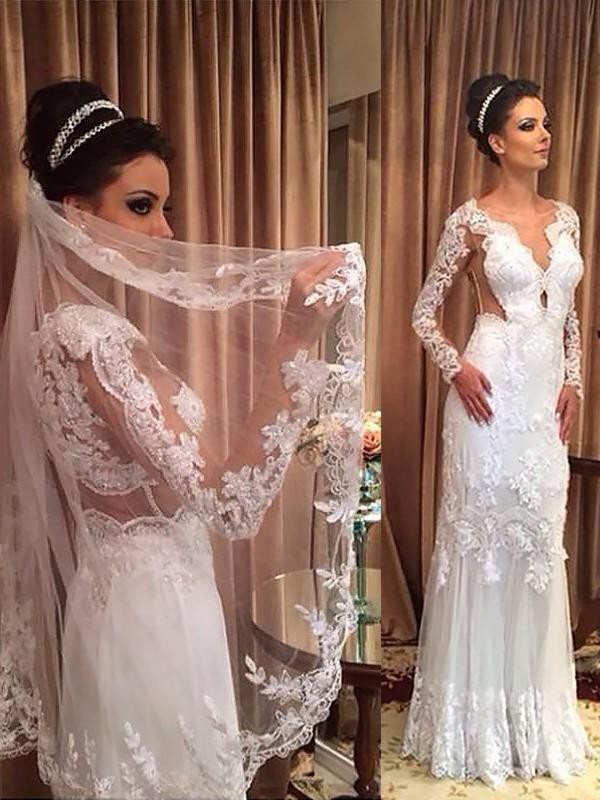 Sweet Sheath V-neck Cut Tulle Long Wedding Dresses With Applique
