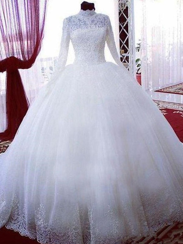 Glamorous Ball Gown High Neck Cut Tulle Long Wedding Dresses With Lace