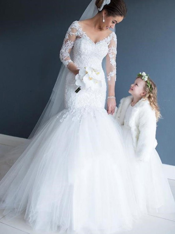 Trendy Mermaid Off-the-Shoulder Cut Tulle Long Wedding Dresses With Lace
