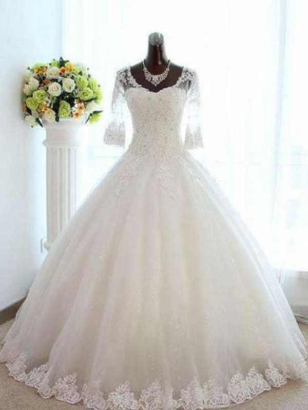 Awesome Ball Gown Bateau Cut Tulle Long Wedding Dresses With Beading