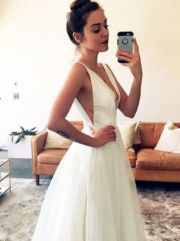 Unique A-Line V-neck Cut Tulle Long Wedding Dresses With Ruched