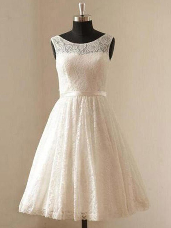 Lovely A-Line Scoop Cut Lace Short Wedding Dresses With Sash/Ribbon/Belt