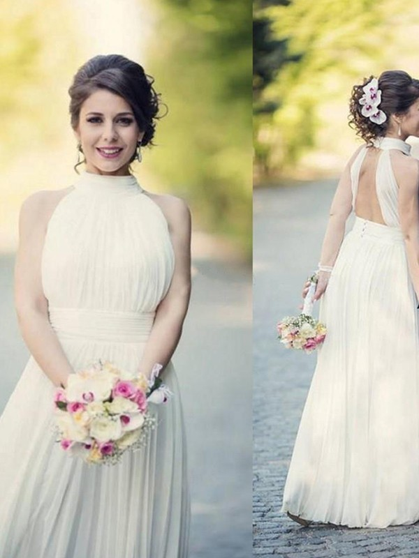 Modern A-Line Halter Cut Tulle Long Wedding Dresses With Ruffles