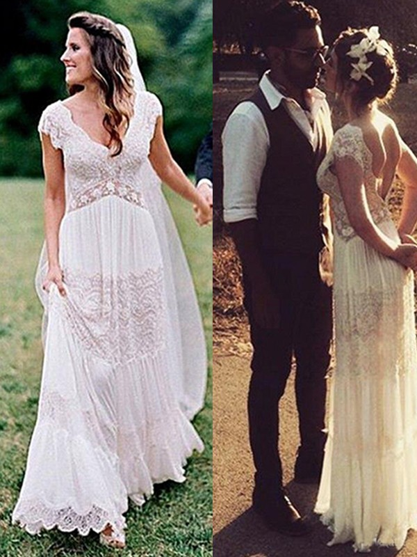 Chic A-Line V-neck Cut Lace Long Wedding Dresses With Ruched