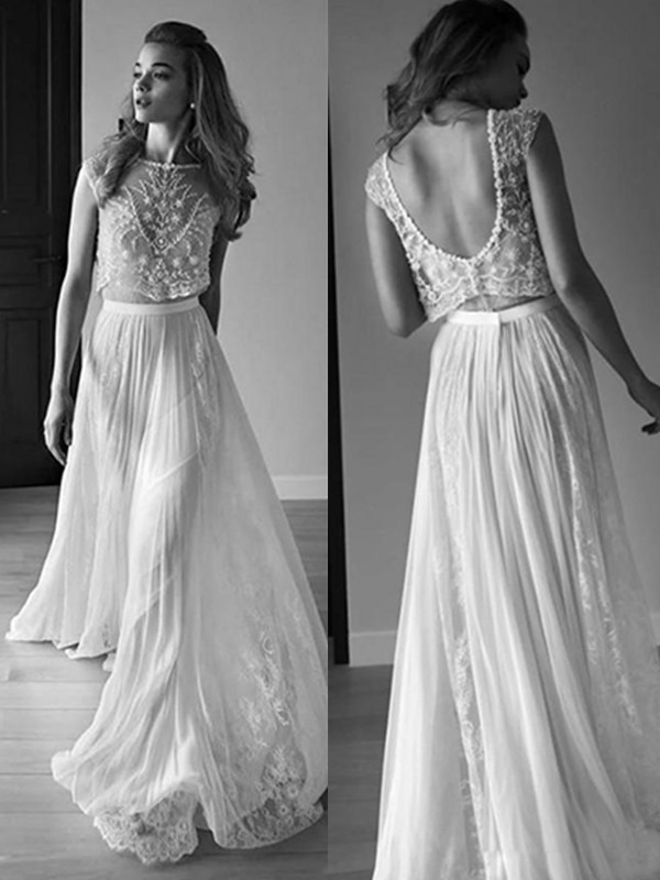 Stylish A-Line Scoop Cut Tulle Long Wedding Dresses With Beading