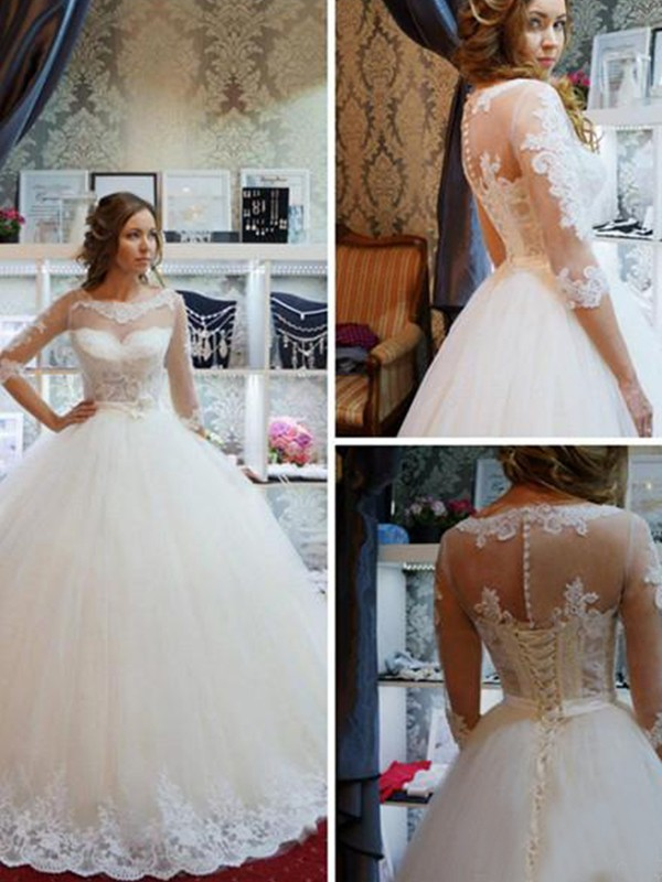 Pretty Ball Gown Scoop Cut Tulle Long Wedding Dresses With Applique