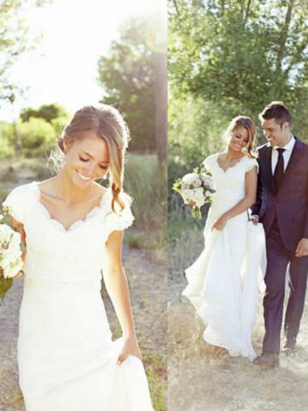 Elegant A-Line V-neck Cut Tulle Long Wedding Dresses With Lace