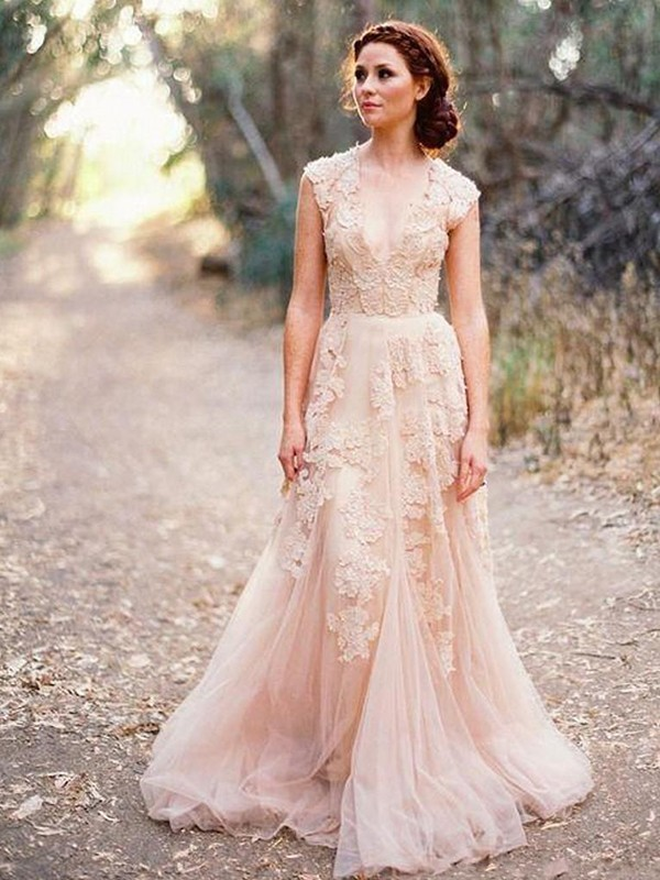 Exquisite A-Line V-neck Cut Tulle Long Wedding Dresses With Applique