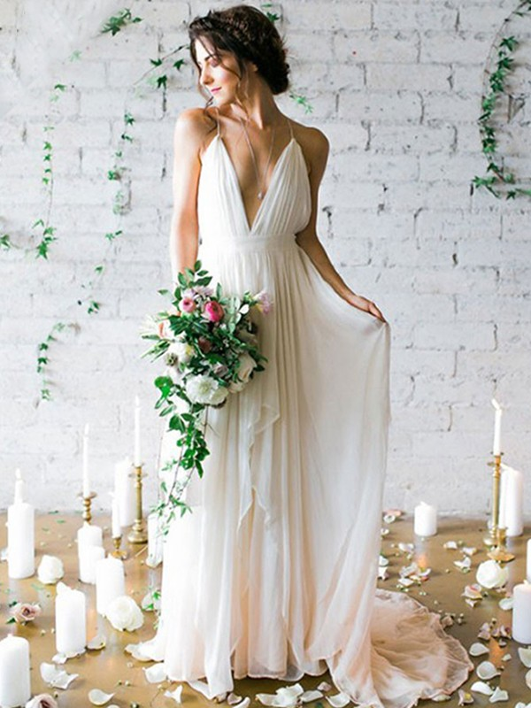 Graceful A-Line Spaghetti Straps Cut Chiffon Long Wedding Dresses With Ruffles