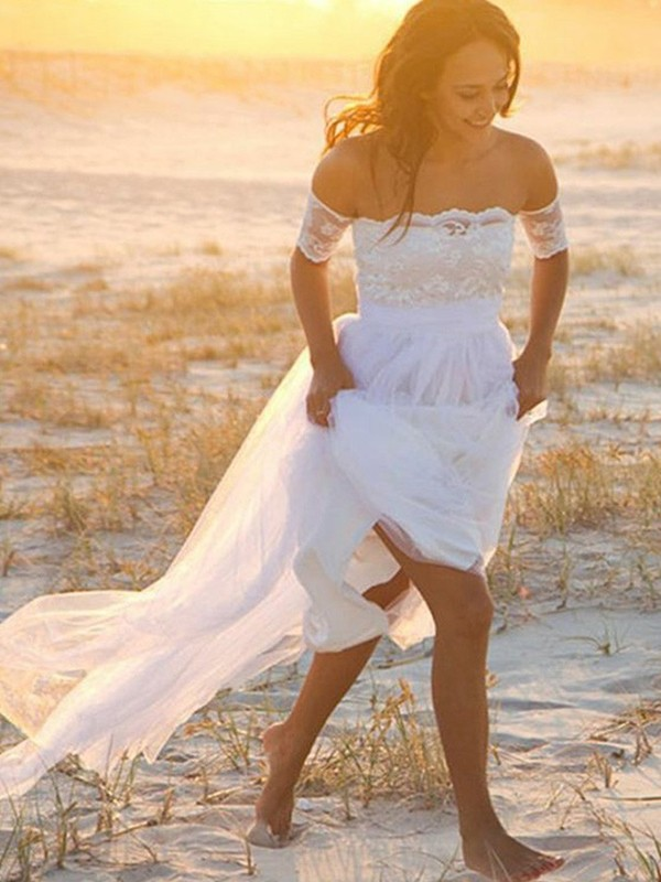 Stunning A-Line Off-the-Shoulder Cut Chiffon Long Wedding Dresses With Lace