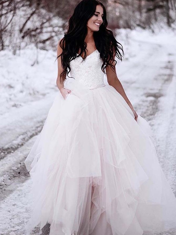 Lovely A-Line V-neck Cut Tulle Long Wedding Dresses With Ruched