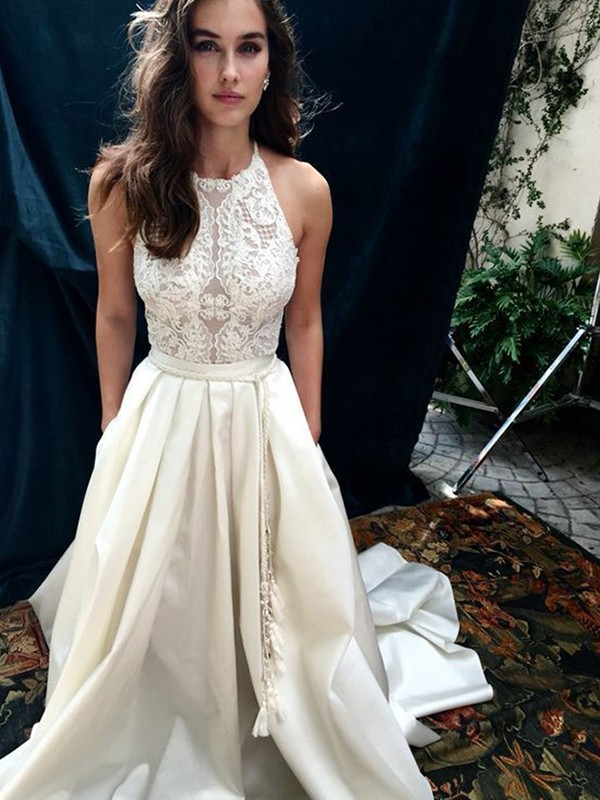Shining A-Line Halter Cut Satin Long Wedding Dresses With Lace