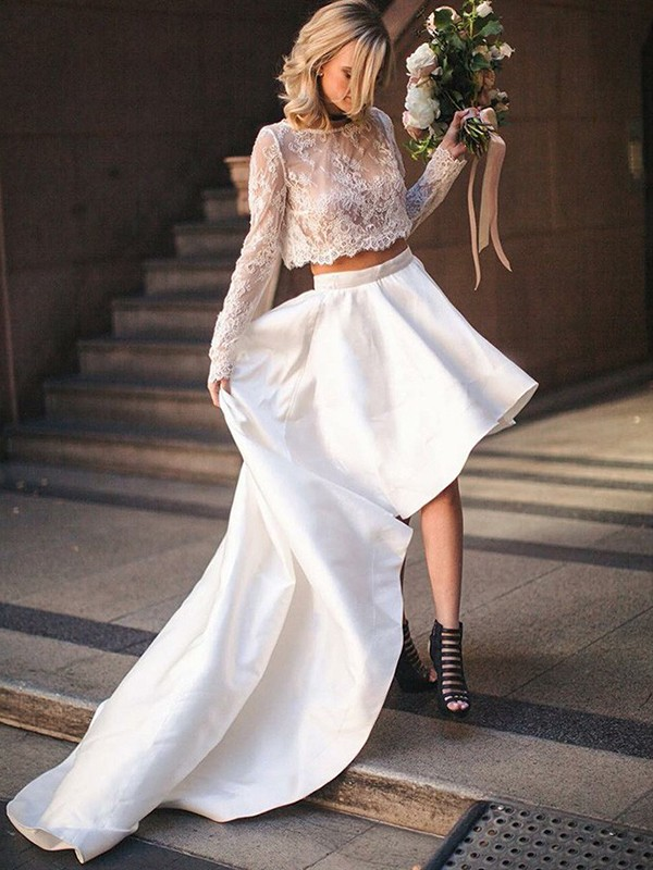 Special A-Line Scoop Cut Satin Long Wedding Dresses With Lace
