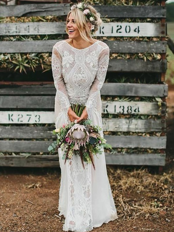 Bright Sheath Scoop Cut Lace Long Wedding Dresses With Ruched