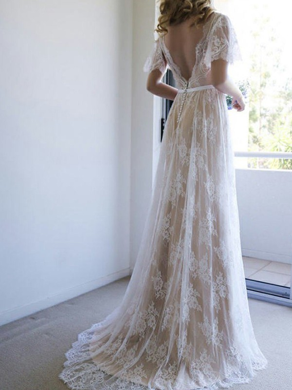 Dreamlike A-Line V-neck Cut Lace Long Wedding Dresses With Sash/Ribbon/Belt
