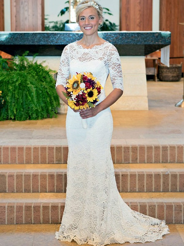 Modern Sheath Scoop Cut Lace Long Wedding Dresses With Ruched