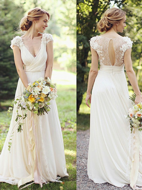 Chic A-Line V-neck Cut Chiffon Long Wedding Dresses With Ruched