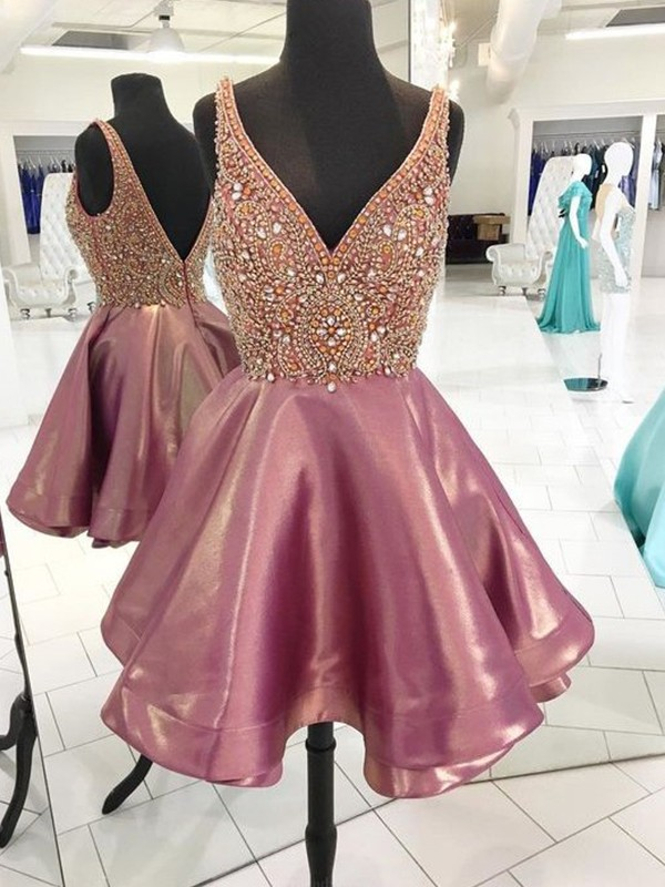 Sweet A-Line V-neck Cut Satin With Beading Short Dresses