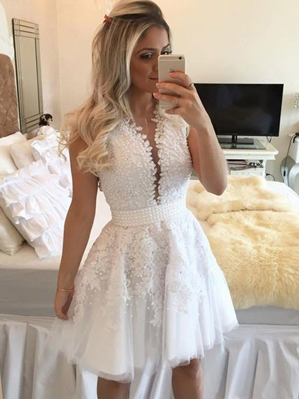 Trendy A-Line V-neck Cut Tulle With Beading Short Dresses