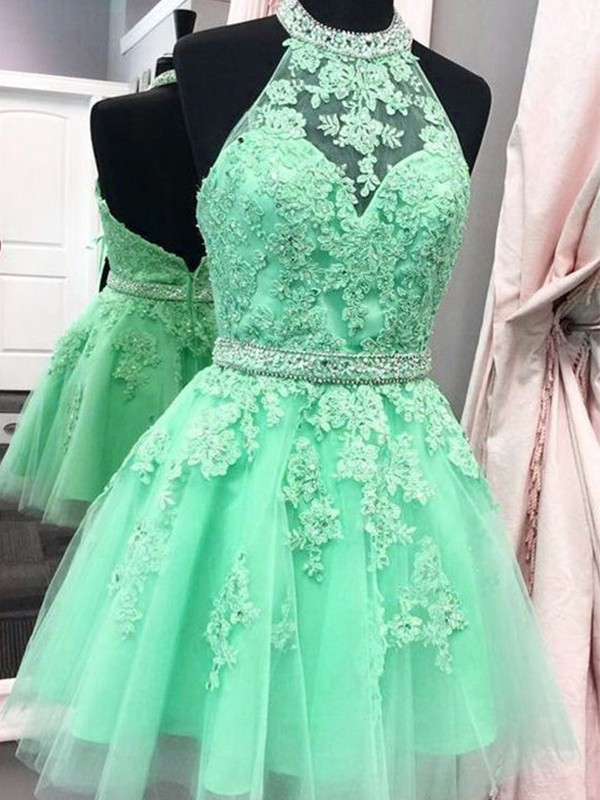 Amazing A-Line Halter Cut Tulle With Applique Short Dresses
