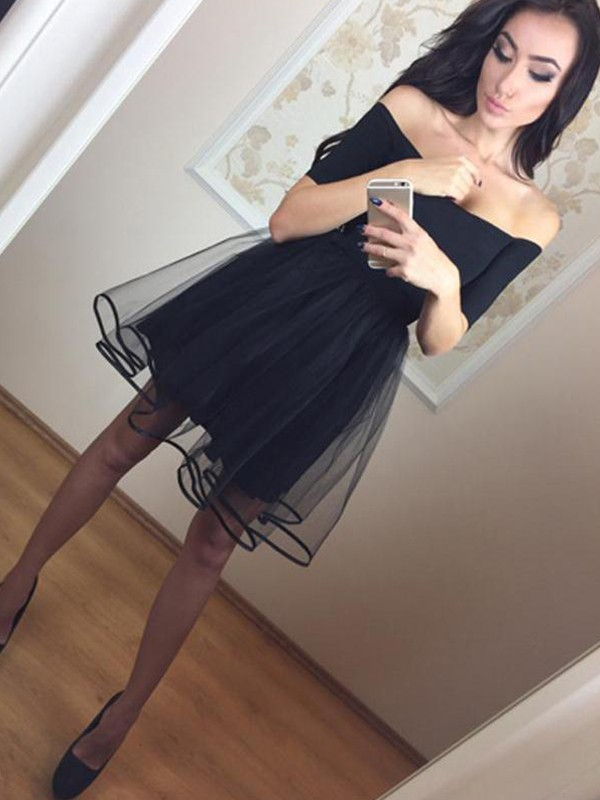 Shining A-Line Off-the-Shoulder Cut Tulle Short Dresses