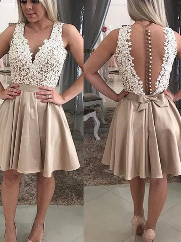 Delicate A-Line With Beading V-neck Cut Satin Short Dresses
