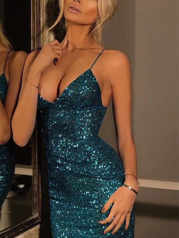 Radiant Sheath Spaghetti Straps Cut Sequins Short Dresses