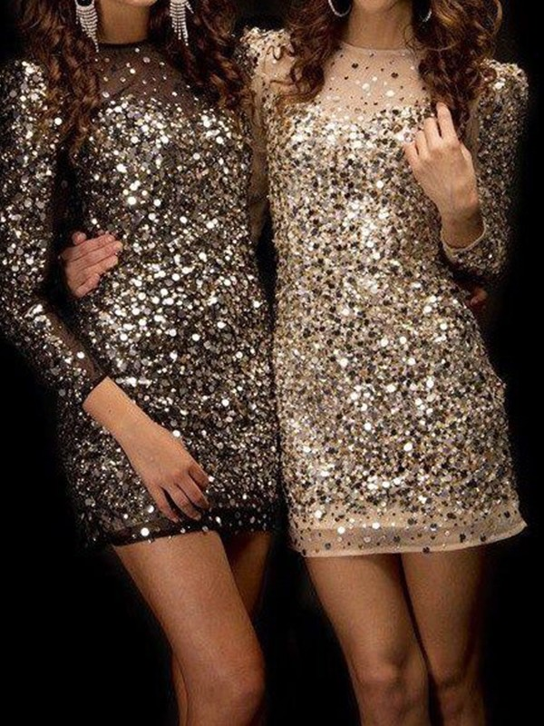 Smart Sheath Bateau Cut Sequins With Beading Short Dresses